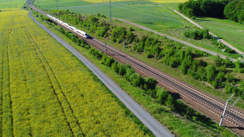 German ICE highspeed train - aerial view Live Action