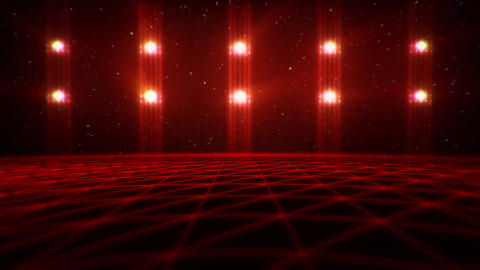 3D Red Matrix Landscape in Cyberspace VJ Loop Background Animation