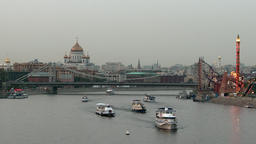 Yachts and boats in big city near Crimean bridge over Moscow river Footage