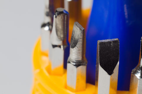 Set of screwdrivers in macro photography Photo