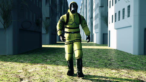 Man in protective hazmat walking in a deserted city. Loopable Background Animation