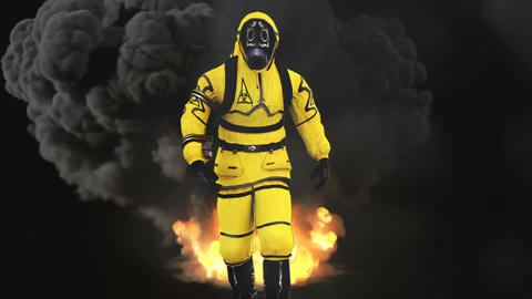 A man in a protective suit walks against the background of smoke and explosions. Animation