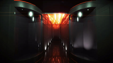 Space Corridor led light by 3D rendering Animation