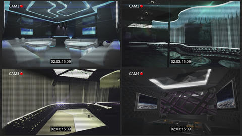 4 cctv camera of night club Animation