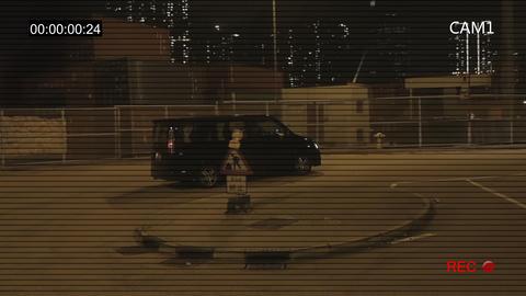 CCTV recording the road at night in Hong Kong Live Action