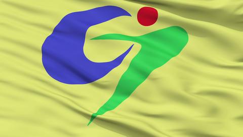 Closeup Goshogawara city flag, prefecture Aomori, Japan Animation