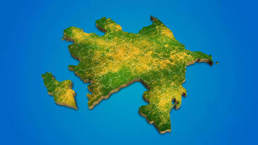 Azerbaijan country map satellite camera zoom in sky effect shot visualization Plantilla de After Effects