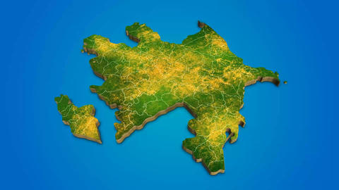 Azerbaijan country map satellite camera zoom in sky effect shot visualization After Effects Template