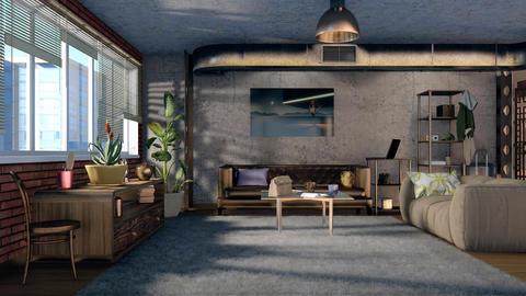 3D animation of loft living room interior design GIF