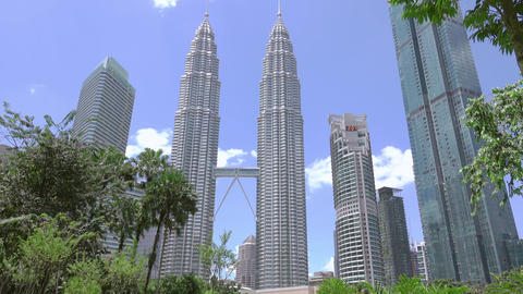 Day in the Park near Petronas Twin Towers. Fast Motion GIF