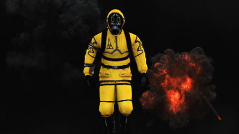 A man in a protective suit walks against the background of smoke and explosions Animation
