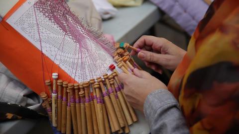 Bobbin lace handicraft GIF