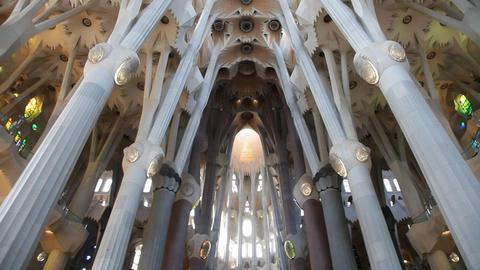 Sagrada Familia Temple. Interior detail Stock Video Footage