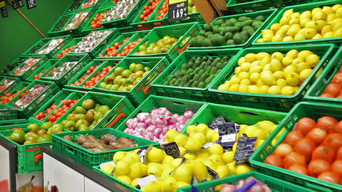 Fruits and vegetables in a supermarket Footage