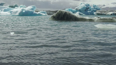 Jökulsárlón Glacial lagoon. Iceland Footage
