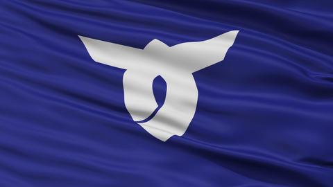 Closeup Obanaza city flag, prefecture Yamagata, Japan Animation