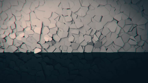 Wall crumbling in real time. 4K UHD animation Stock Video Footage