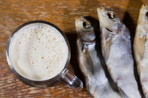 Russian snack . Beer and dried fish Fotografía