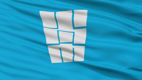 Closeup Tokoname city flag, prefecture Aichi, Japan Animation