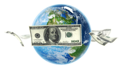 USD Banknotes Around Earth on White (Loop) Animation