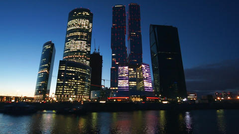 Business Center At Night Stock Video Footage