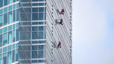 Window Washers Stock Video Footage