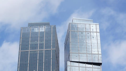 Office Building And Clouds Reflections Stock Video Footage