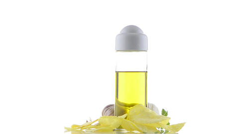 Garlic and olive oil still Stock Video Footage