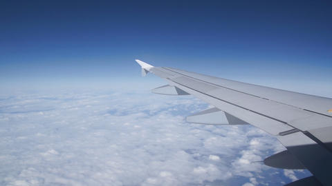 Airplane Wing And Blue Sky Stock Video Footage