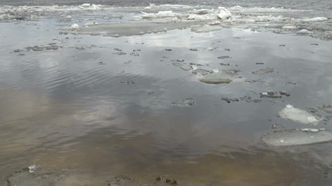 Ice floe floats in water Footage