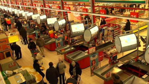 Buyers in a supermarket Stock Video Footage