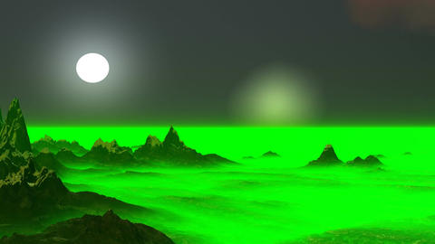 Surrealistic landscape (green being shone fog) Stock Video Footage