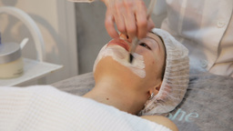 Face mask being applied during spa treatment Footage