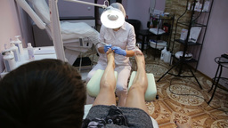 Woman receiving pedicure Footage