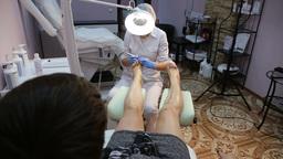 Woman receiving pedicure Footage