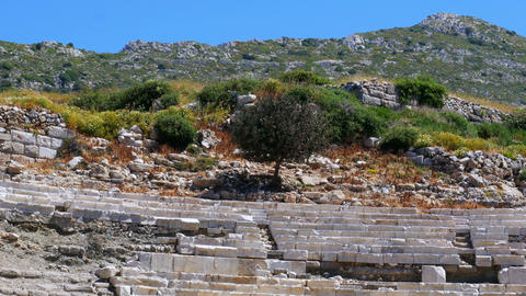Knidos amphitheater and majestic sea, datca, turkey Footage