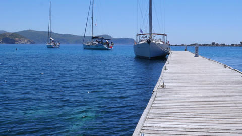 yacht at wooden pier, knidos, datca, turkey Footage
