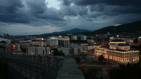 Day to Night in Skopje City Footage
