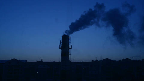 Factory Chimney And Smoke stock footage