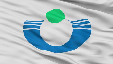 Closeup Urayasu city flag, prefecture Chiba, Japan Animation