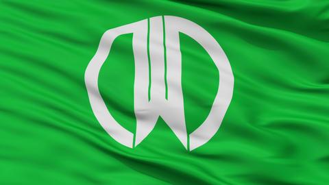 Closeup Yamagata city flag, prefecture Yamagata, Japan Animation