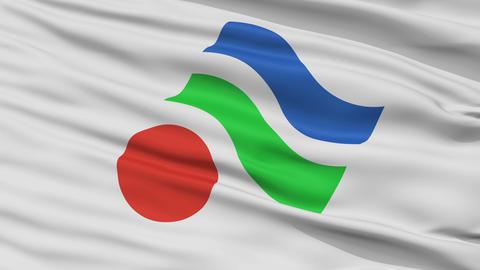 Closeup Yawatahama city flag, prefecture Ehime, Japan Animation