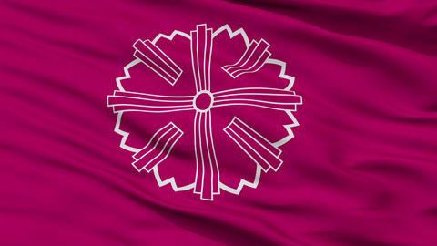 Closeup Yonezawa city flag, prefecture Yamagata, Japan Animation