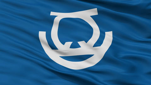 Closeup Zushi city flag, prefecture Kanagawa, Japan Animation