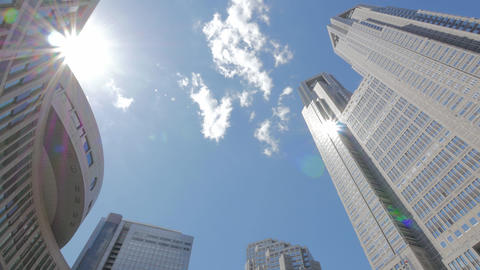 Buildings around Tokyo Metropolitan Government Office and Moving Clouds Footage