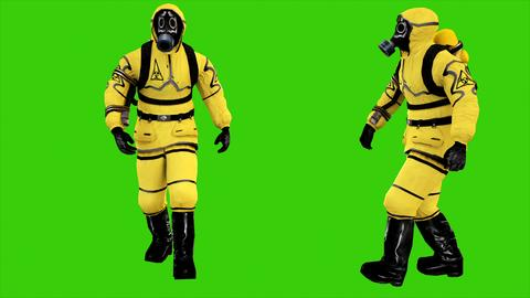 Man in protective hazmat walking on green screen background. 3D rendering Fotografía