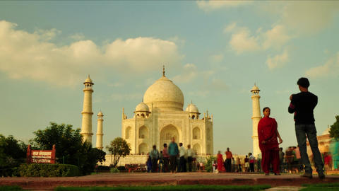 Timelapse of tourist activity inside Taj Mahal in Agra, India Footage