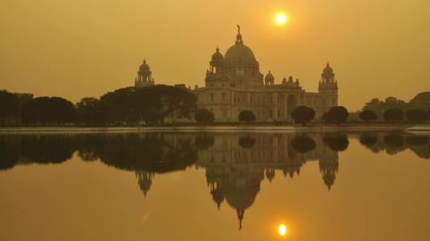Victoria Memorial in the evening, Kolkata, India time lapse Footage