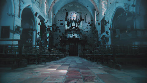 Bibles float in a haunted church. 4K UHD Footage