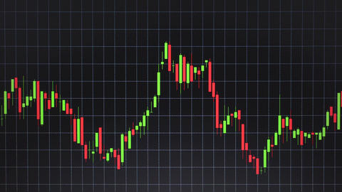 Candlestick Chart or Forex Stock Graph Trend Slide on Table Line Black BG Live Action